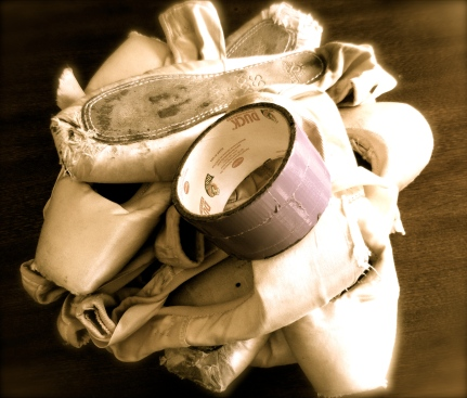 pointe shoes and duct tape