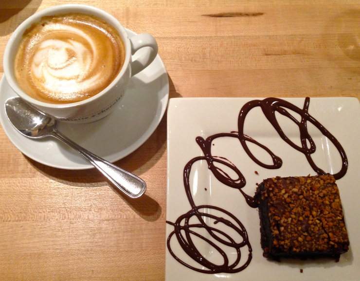 Juliette et Chocolat brownie and latte