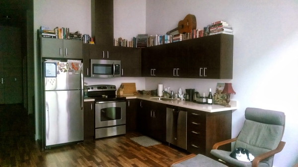 Kitchen with book decor