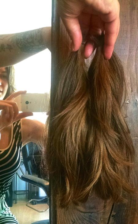 long hair chopped off