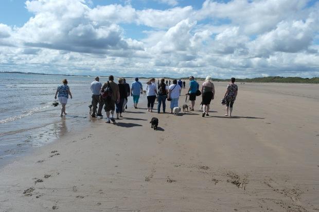 group walking on beach