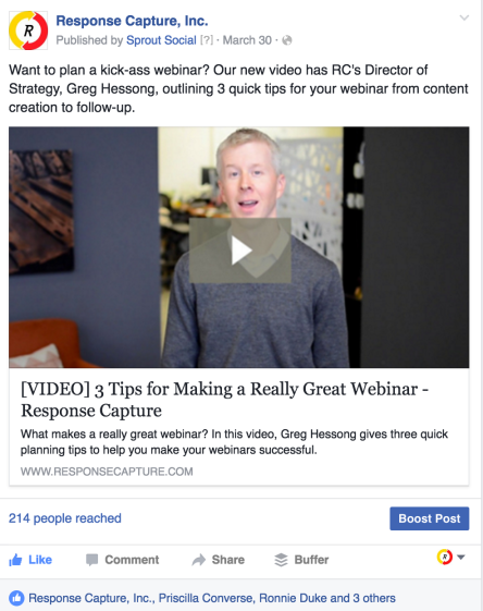 facebook video promo