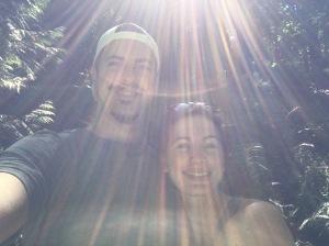 hiking in the sun