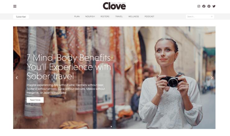 clove travel and wellness website