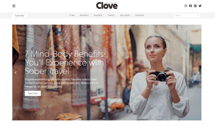 clove travel and wellness website