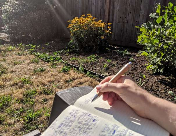journal writing outside